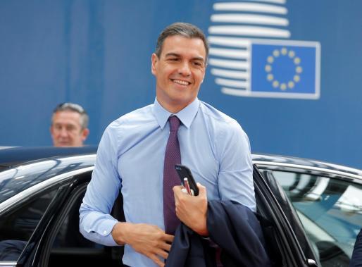 El presidente del Gobierno, Pedro Sánchez, a su llegada a una cumbre del Consejo Europeo en Bruselas (Bélgica).