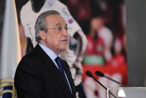 Florentino Pérez, durante la presentación de Ferland Mendy.