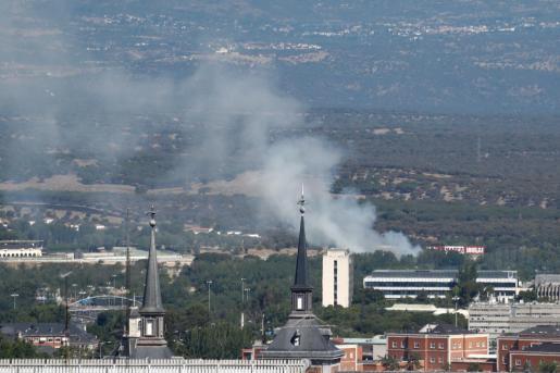 Estado del cielo en la ciudad -con humo- en las inmediaciones de Plaza de España (Madrid).