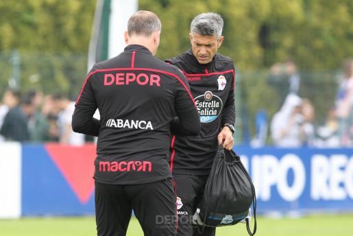 Pep Lluís Martí (derecha), durante su etapa al frente del Deportivo.