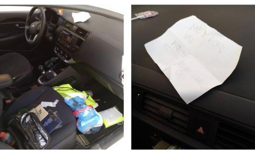 El interior de un coche que ha aparecido revuelto y con una nota del autor de los hechos.