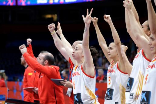 ADC21. Belgrade (Serbia), 04/07/2019.- Spain players react during the FIBA Women's Eurobasket 2019 quarter finals match between Spain and Russia in Belgrade, Serbia, 04 July 2019. (Baloncesto, Rusia, España, Belgrado) EFE/EPA/ANDREJ CUKIC FIBA Women's Eurobasket 2019