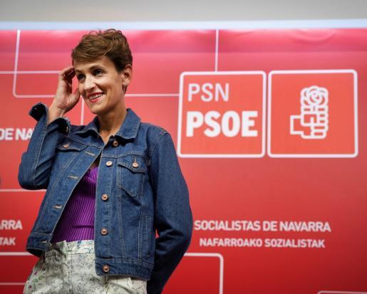 La secretaria general del PSN y candidata a presidir Navarra, María Chivite.