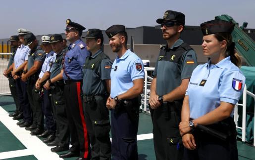 Momento de la presentación de los refuerzos de policías de otros países para velar por la seguridad en verano en Mallorca.