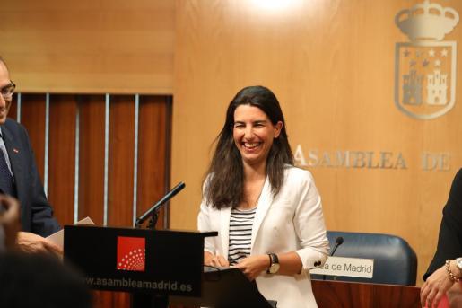 Declaraciones de la representante de Vox en la Comunidad de Madrid tras la reunión de la Junta de Portavoces de los Grupos Parlamentarios.