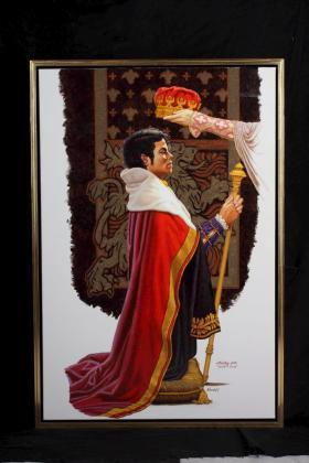 Fotografía sin fechar facilitada por la casa de subastas Juliens Auctions que muestra un dibujo que representa a Michael Jackson siendo coronado y nombrado caballero con un poema original del cantante.