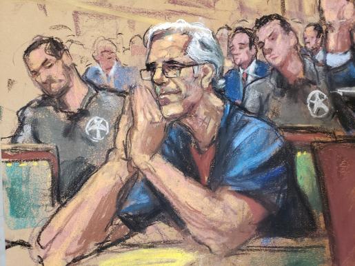 Retrato de Jeffrey Epstein durante el juicio.