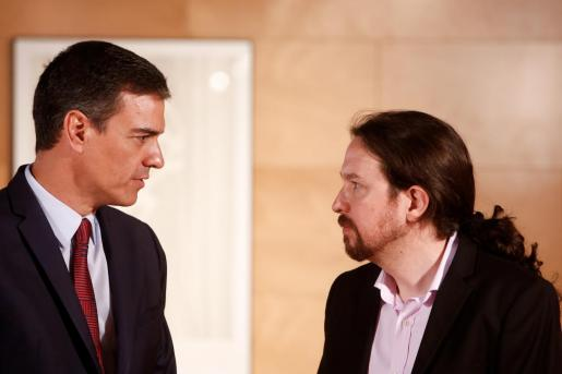 El presidente del Gobierno en funciones, Pedro Sánchez, en una imagen reciente junto a Pablo Iglesias.