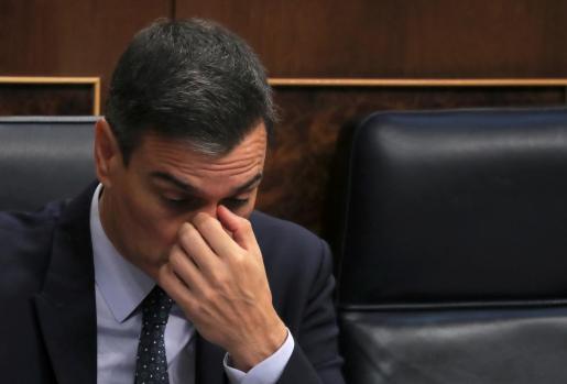 Pedro Sánchez, durante la segunda jornada del debate de investidura.