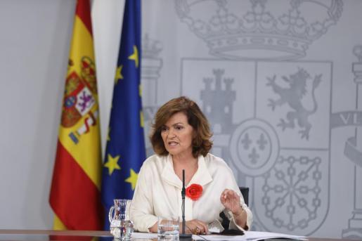 La vicepresidenta del Gobierno en funciones, Carmen Calvo.