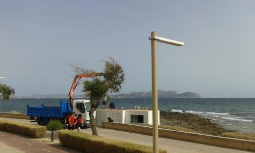 Los operarios municipales vaciaron el agua y los residuos acumulados en la estación de bombeo de Son Bauló.