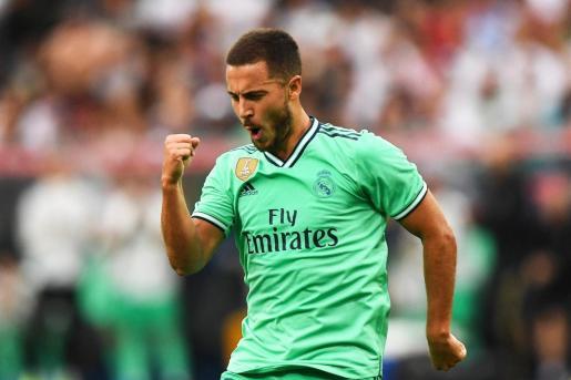 El belga Eden Hazard celebra el gol de la victoria del Real Madrid.
