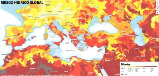 Gráfica del riesgo hídrico mundial.