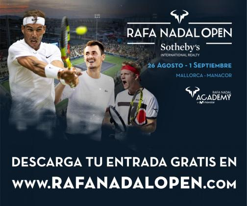 La entrada al Rafa Nadal Open by Sotheby´s International Realty es gratuita previa descarga a través de la web www.rafanadalopen.com.