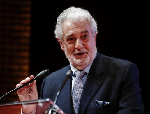 El intérprete Plácido Domingo durante una intervención en el Teatro de la Zarzuela.