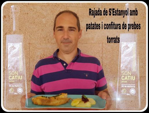 Andreu Cortés presenta su receta: Rajada de S'Estanyol con patatas y confitura de pimientos.