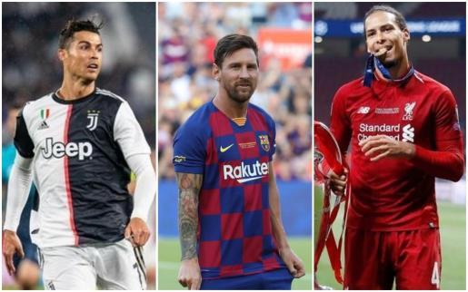 El portugués Crisitano Ronaldo, el argentino Leo Messi y el holandés Virigl van Dijk.