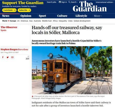Imagen de la portada de The Guardian haciendo referencia al tren de Sóller.