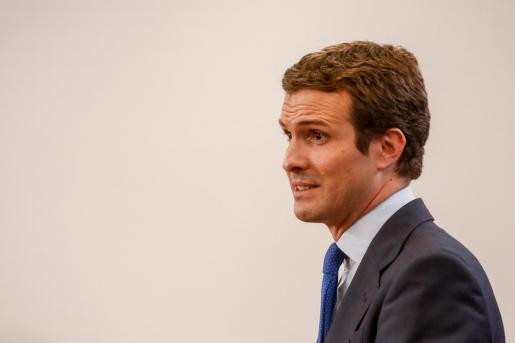 El presidente del PP Pablo Casado, en una rueda de prensa.