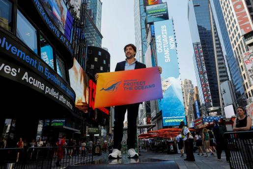 Javier Bardem en Times Square.