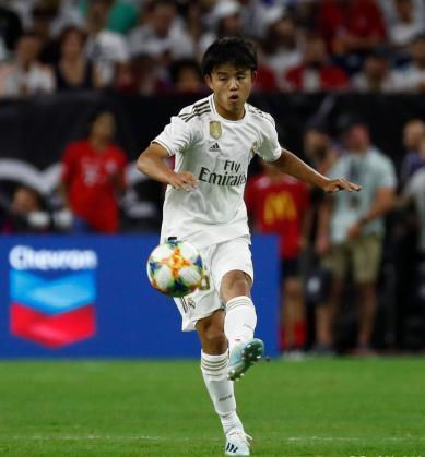 Takefusa Kubo, futbolista japonés del Real Madrid, durante un amistoso de pretemporada con el conjunto blanco.