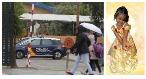 Imagen de un vehículo de la Policía Nacional en el colegio La Salle el día de la tragedia. A la derecha, la imagen facilitada por la familia de la pequeña Naia.