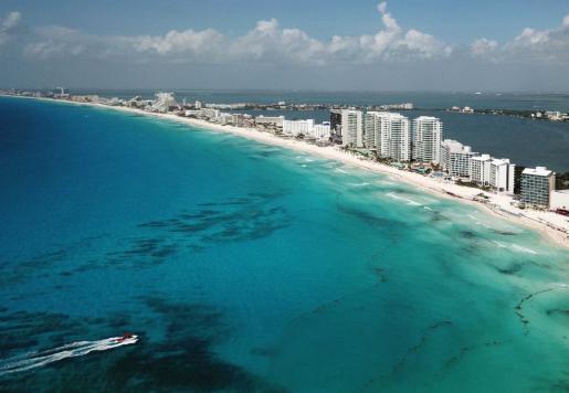 Vista general de la zona de playas de Cancún, en el estado de Quintana Roo (México).