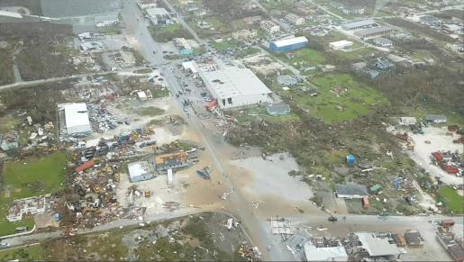 Imagen de la devastación a vista de pájaro en Abaco.