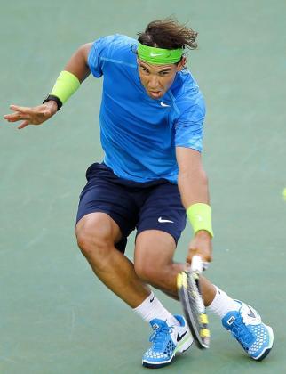 Rafael Nadal, en una secuencia de un partido en Indian Wells.