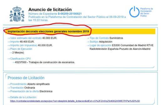 Imagen de la oferta de licitación de RTVE para las posibles elecciones del 10 de noviembre.