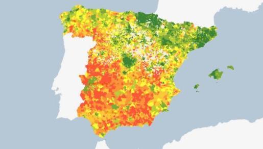 Mapa que muestra la renta por hogares.