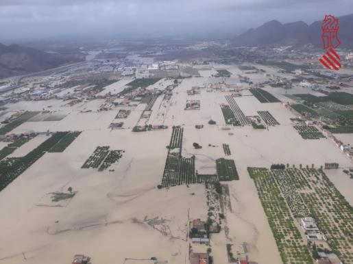 Inundaciones en Orihuela, campos anegados.