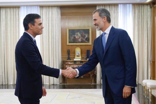 El Rey recibe a Pedro Sánchez en la ronda de contactos sobre la investidura.