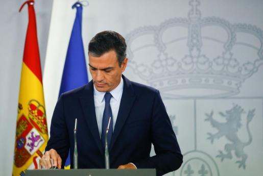 Pedro Sánchez en rueda de prensa tras comunicar el Rey que no hay candidato.