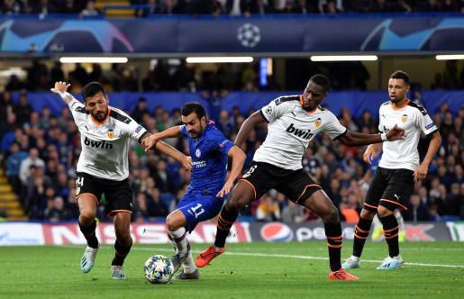 Un momento del encuentro que enfrentó al Chelsea con el Valencia.