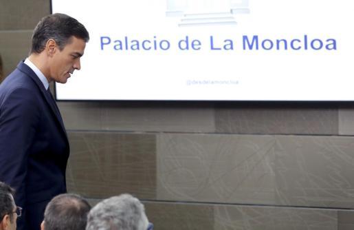 El presidente del Gobierno en Funciones Pedro Sánchez durante la rueda de prensa.