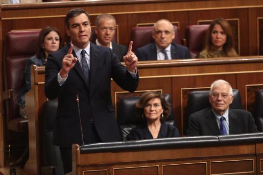 El presidente del Gobierno en funiones, Pedro Sánchez, comparece en la sesión de control.