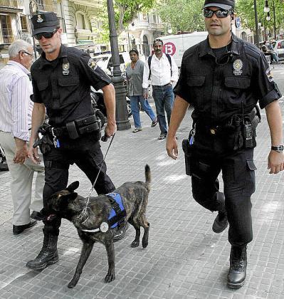 Dos agentes patrullando con un perro.