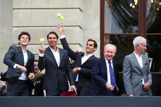 Roger Federer, Rafael Nadal y Dominic Thiem en la presentación de la Copa Laver.