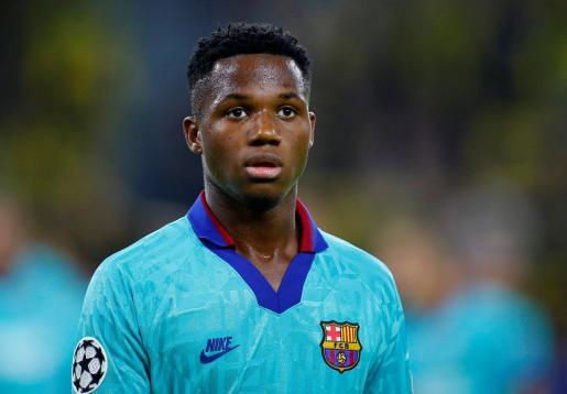 Ansu Fati, futbolista del FC Barcelona, durante el partido del pasado martes en Liga de Campeones contra el Borussia Dortmund.