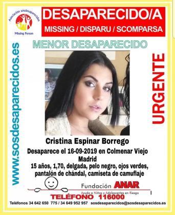 Desapareció el pasado lunes 16 de septiembre en Colmenar Viejo, Madrid.