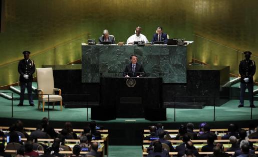 el presidente de Brasli Jair Bolsonaro durante su intervanción en la asamblea general de la ONU.