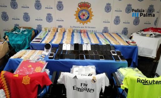 Material incautado por la Policía Nacional y Policía Local de Palma.