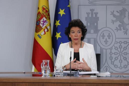Isabel Celaá, portavoz del Gobierno, es una de las ruedas de prensa posteriores al Consejo de Ministros.