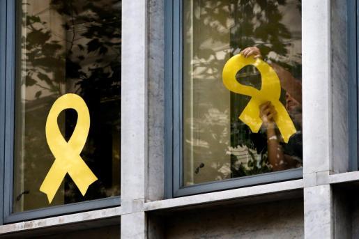 Trabajadores del Departamento de Agricultura Ganadería ,Pesca y Alimentación de la Generalitat retiran lazos de las ventanas del edificio de la consellería.
