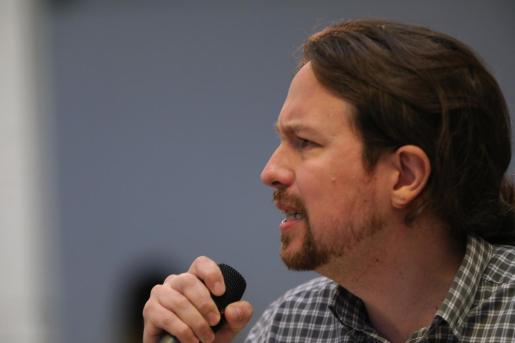 El secretario general de Unidas Podemos, Pablo Iglesias, interviene durante un acto de precampaña de Podemos, en Madrid.