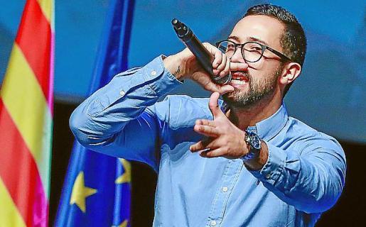 Valtonyc, en un acto independentista en Bruselas.