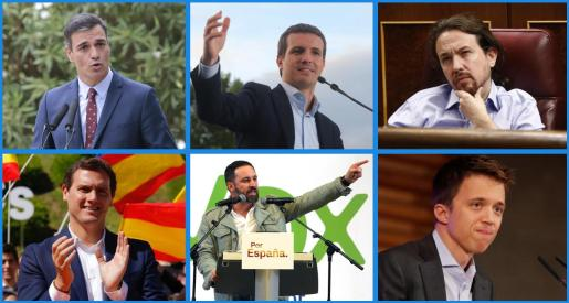 Pedro Sánchez, Pablo Casado, Pablo Iglesias, Albert Rivera, Santiago Abascal e Íñigo Errejón se postulan como aspirantes a la presidencia del Gobierno.