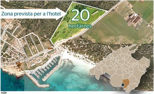 Gráfico que muestra el lugar donde estará ubicado el futuro hotel.