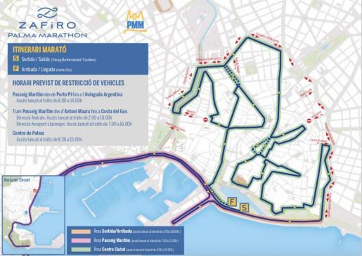 Mapa con las restricciones de tráfico.